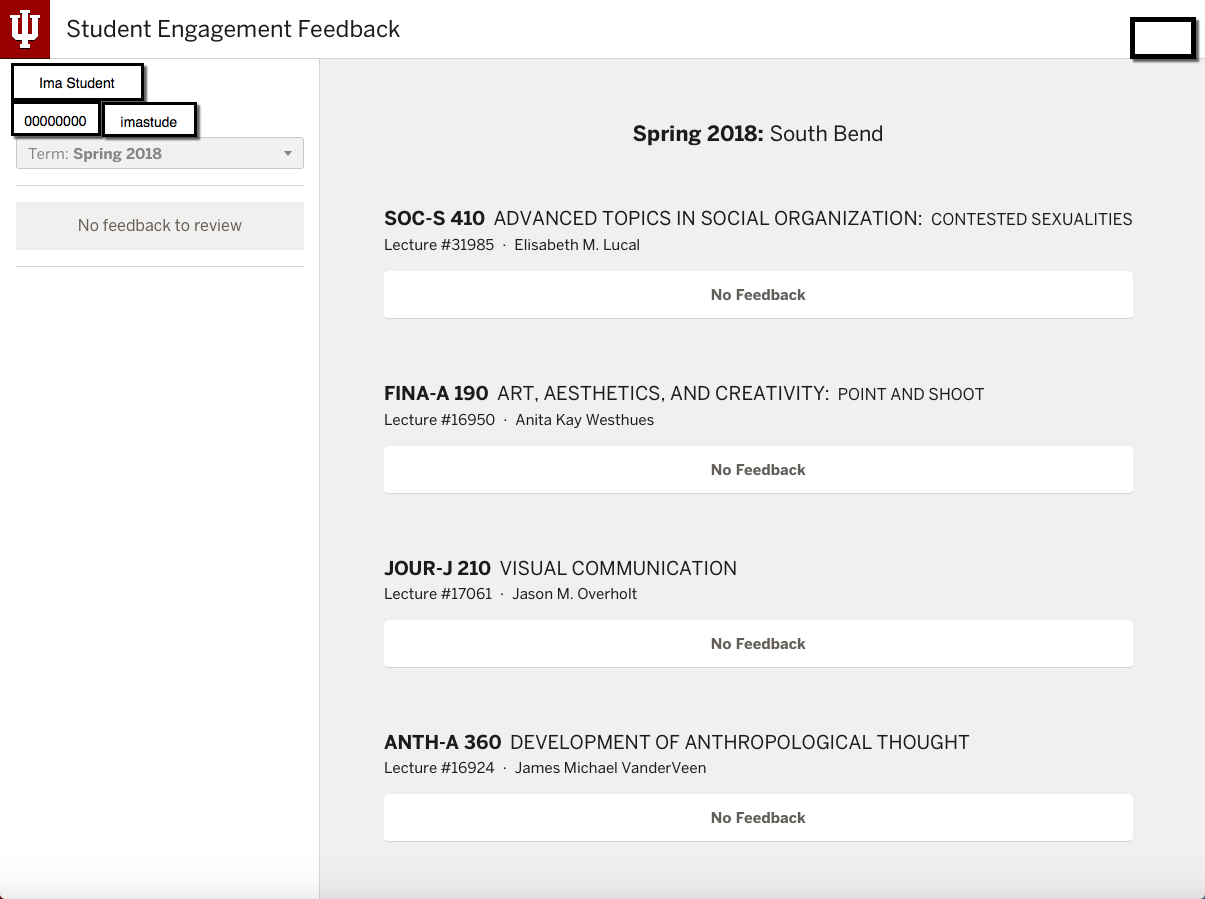 Screen capture of Class Engagement Feedback page with arrow pointing to Prior Feedback link for a course